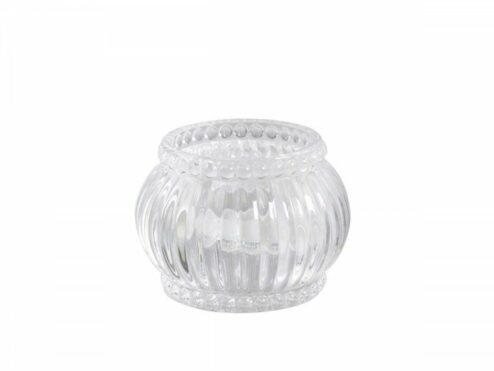 Teelichthalter mit Nuten und Perlenkante durchsichtig (3 Stück)