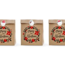 Geschenketueten Merry little Christmas Kraftpapier