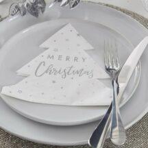 Papierserviette Tannenbaum Merry Christmas Silber