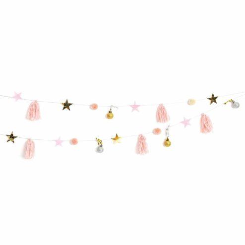 Quasten Girlande rosa pastell