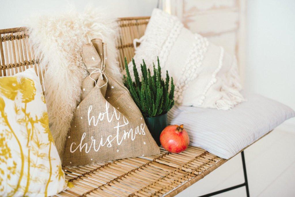 Jute Beutel Holly Christmas