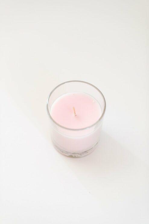 Kerze im Glas rosa