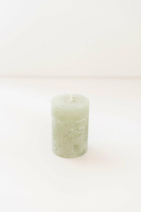 Stumpenkerze Rustikal Olive 10 cm