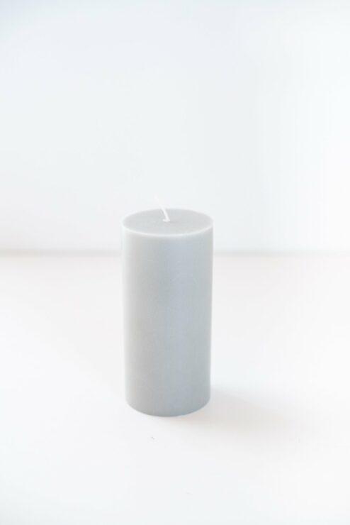 Cylinderkerze Stearin steingrau