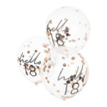5 klare Luftballons mit rosegoldenem konfetti hello 18