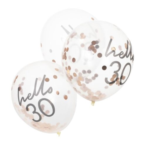 5 Luftballons mit roségoldenem Konfetti 'hello 30'