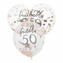 5 Luftballons mit roségoldenem Konfetti 'hello 50'