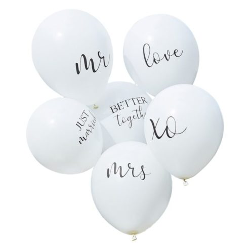 6 weiße Luftballons white wedding