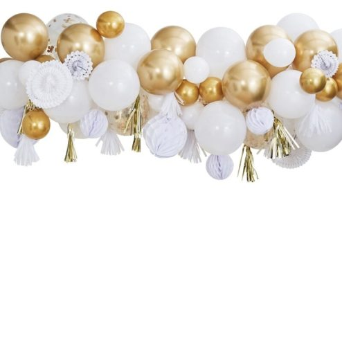 Ballongirlande weiß gold