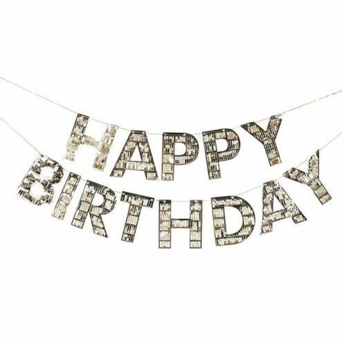 Banner happy Birthday goldene Fransen