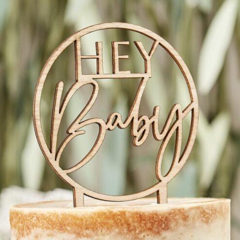 Cake Topper hey Baby Holz