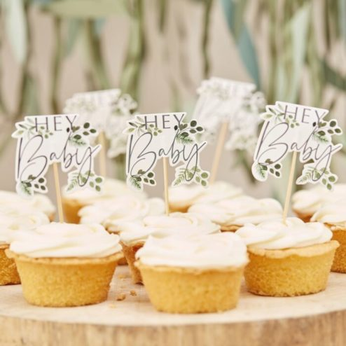 Cupcake Toppers Botanical hey baby