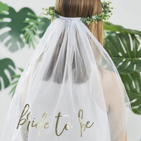 Haarkranz Eukalyptus mit Schleier bride to be