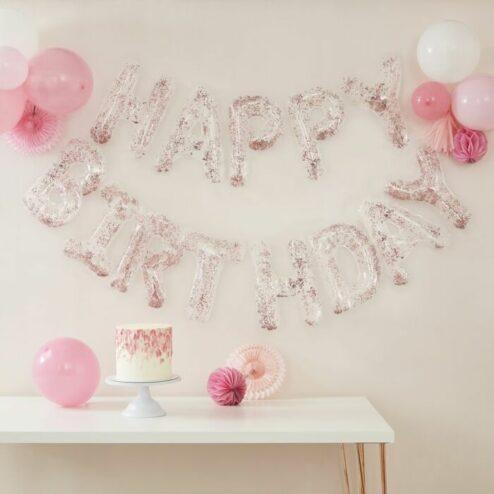 Happy Birthday Ballon Set durchsichtig mit Konfetti