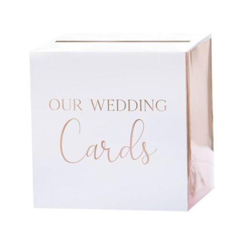Kartenbox 'our wedding cards' roségold