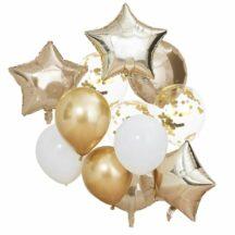 Luftballonbuendel metallic gold weiss