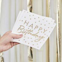 Papierserviette happy birthday gold gepunktet