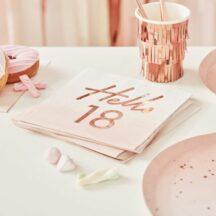 Papierserviette hello 18 roségold
