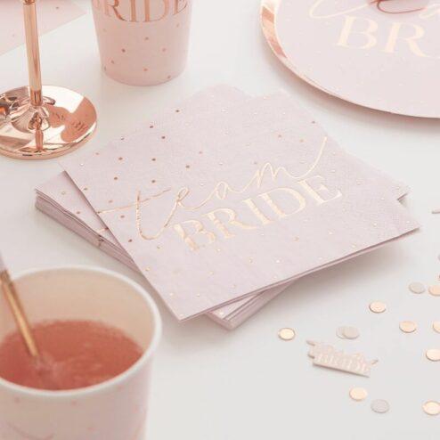 Papierserviette team bride rosegold gepunktet