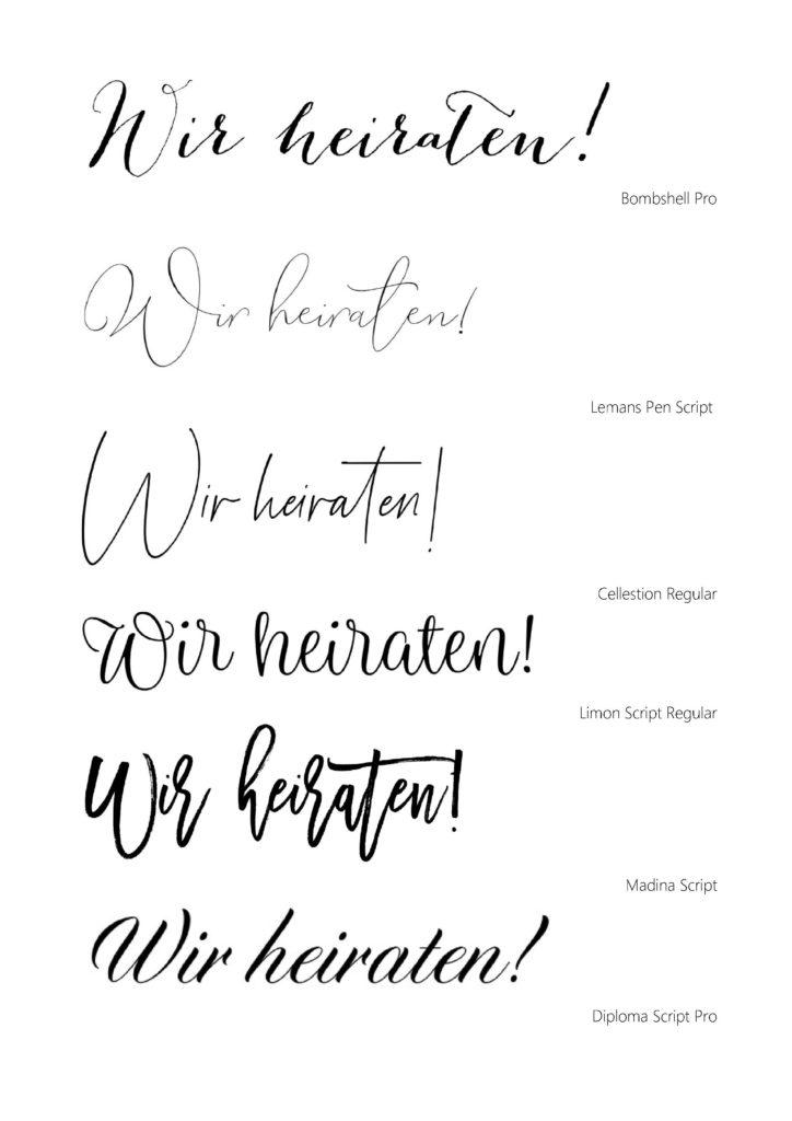 Schöne Kalligrafie & Schriftarten für Eure Hochzeitseinladung 2020