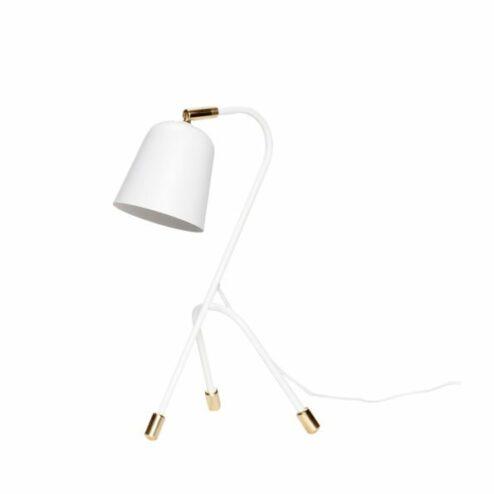Tischlampe weiß Metall Messing