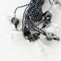 Lichterkette LED mit Textikabel schwarz-weiß