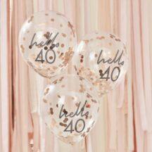 5 Luftballons mit rosegoldenem Konfetti 40.
