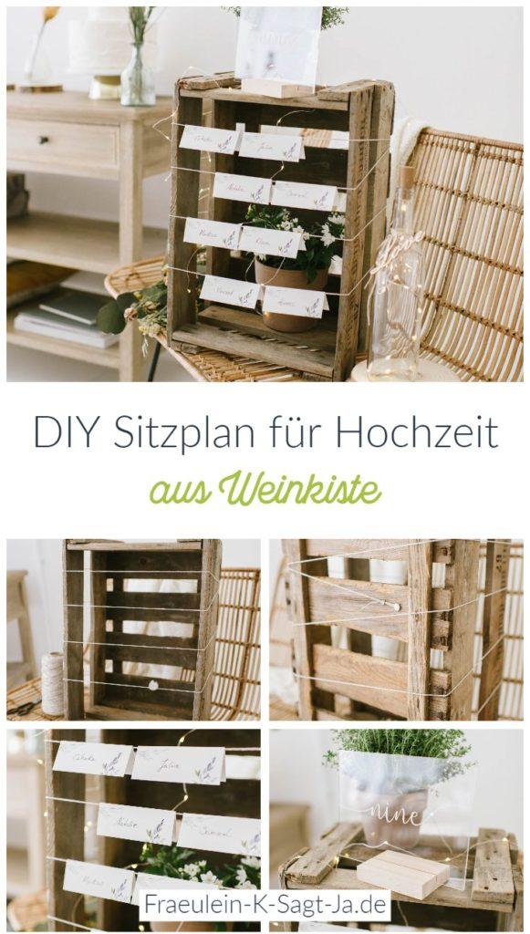 Unsere DIY Sitzplan Idee aus Weinkiste könnt ihr mit wenigen Dekorationen super schnell nachmachen. Für den Tischplan für eure Hochzeit braucht ihr ... #sitzplan #hochzeit #diy