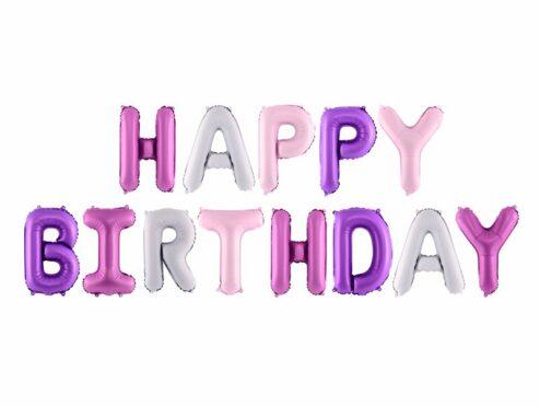 Folienballon Set Happy Birthday lila
