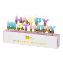 Geburtstagskerzen 'Happy Birthday' bunt mit Goldglitzer