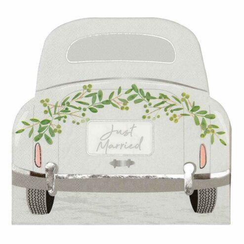 Papierserviette Hochzeitsauto 'Just married'