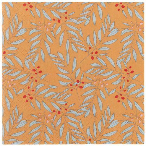 Papierserviette Zweige orange