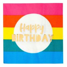 Papierservietten Happy Birthday Regenbogen