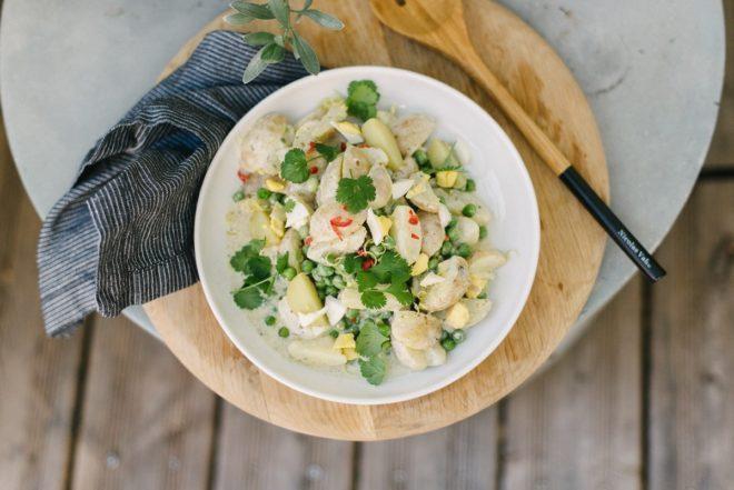 Rezept: Außergewöhnlicher Kartoffelsalat mit Erbsen und Koriander