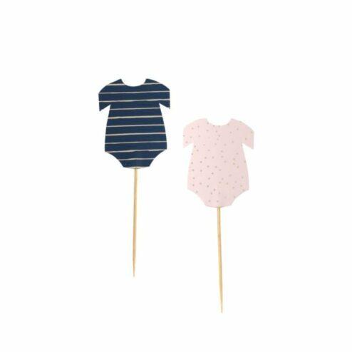 Cupcake Topper Babybody rosa-blau