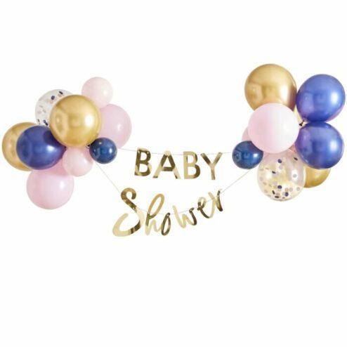 Girlande 'Baby Shower' gold mit Ballondekoration