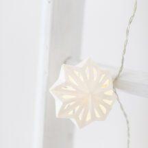 Lichterkette LED Papier Sterne weiß