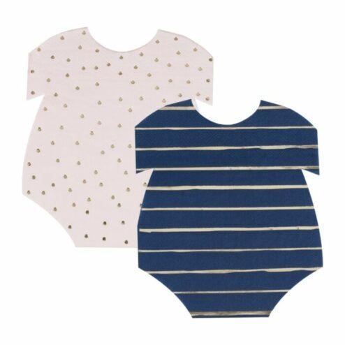 Papierservietten Baby Body rosa-blau