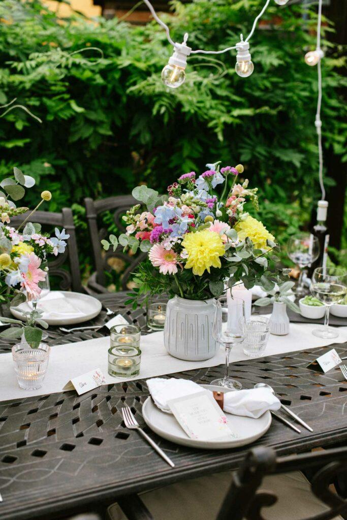 Tischdeko Gartenparty zum 40. Geburtstag