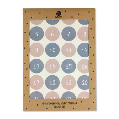 Adventskalender Sticker altrosa blau