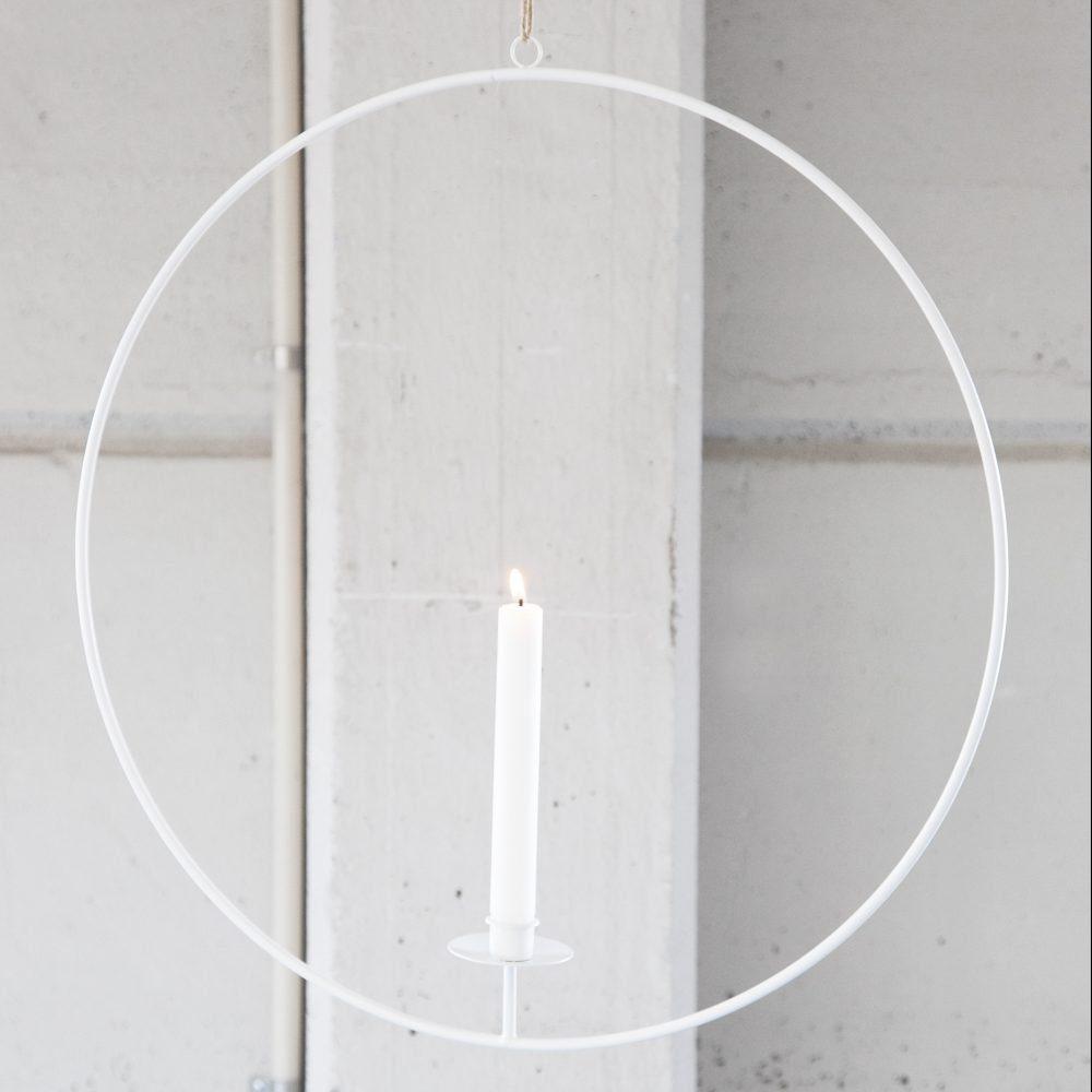 Kerzenhalter Ring zum Aufhängen weiß