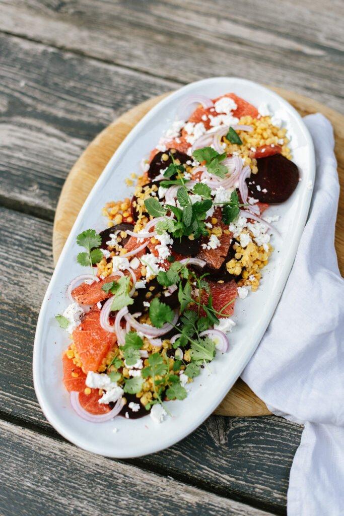 Herbstliches Rezept Rote Beete Salat mit Linsen