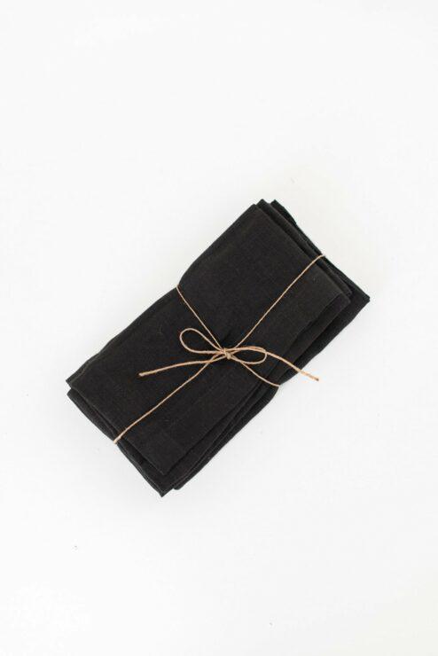 Stoffserviette Leinenserviette schwarz anthrazit