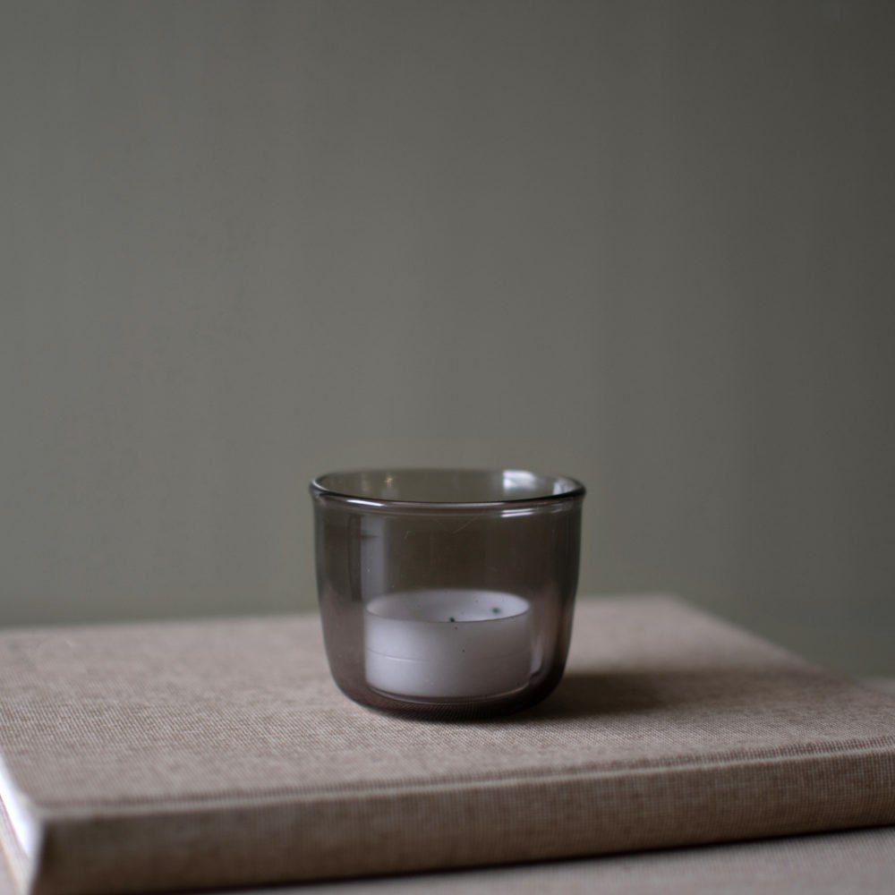 Teelichthalter Glas braun