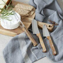 3tlg. Kaesemesser Set aus Akazienholz