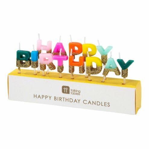 Geburtstagskerze 'Happy Birthday' farbenfroh mit Goldglitzer