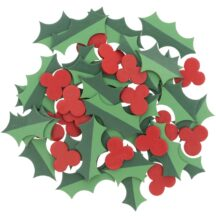 Holzkonfetti Ilex gruen-rot