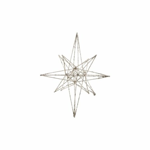 Ornament Star Champagne Glitzer