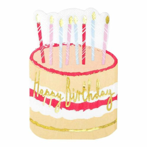 Papierservietten 'Happy Birthday' Torte