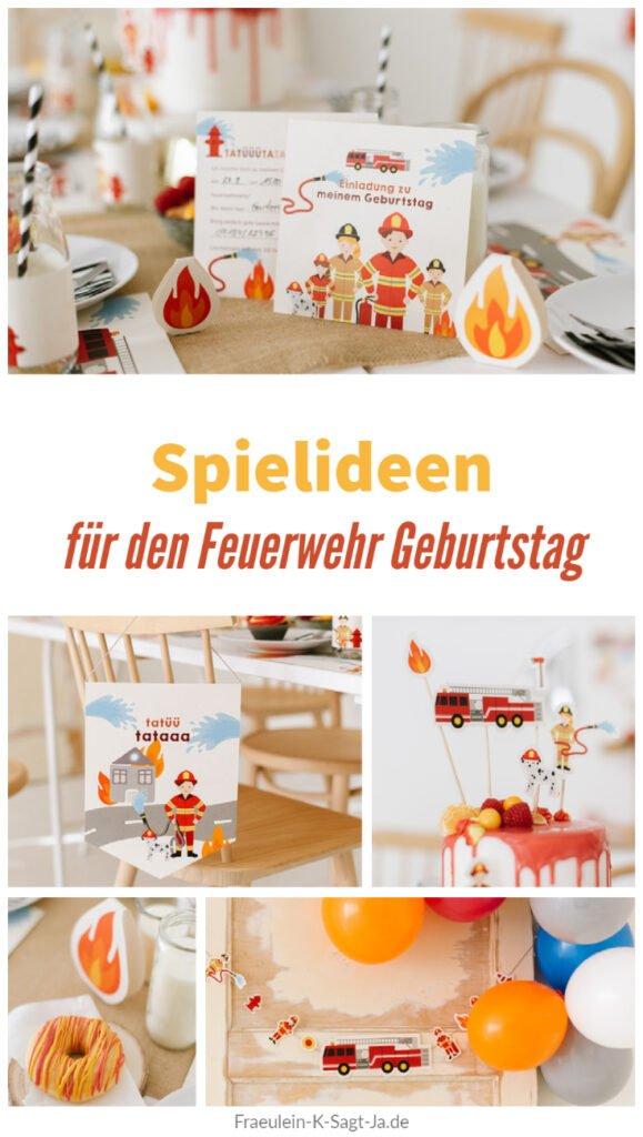 Fröhliche Spiele für den Feuerwehr Geburtstag - Unsere Feuerwehrparty mit Einladungskarten, Deko, Geburtstagstorte, Spiel- und Bastelideen.